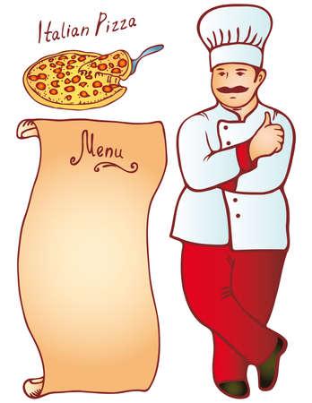 Cook male Italian Pizza Menu. monochrome Vector Vector