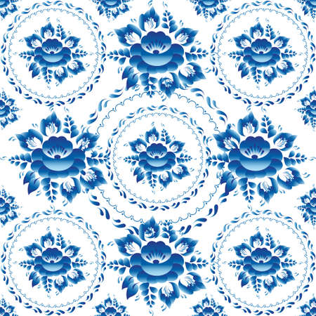 Gzhel Seamless ornament pattern with blue flowers and leaves. Vector illustration
