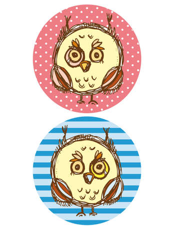 Funny owl boy and girl on a blue and pink background. Greeting card Vector illustration Vector