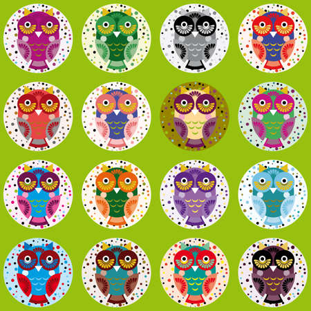 little funny owls on green background. cheerful Vector