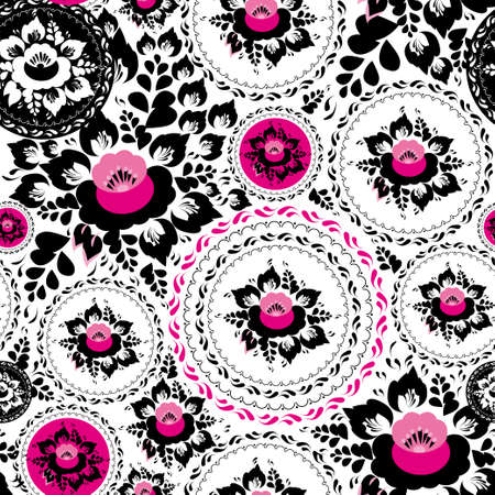 russian pattern: Vintage shabby Chic Seamless ornament pattern with Pink and Black flowers and leaves.