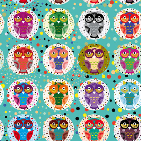 Seamless pattern with funny colored owls on a turquoise background. Vector
