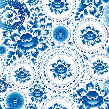 Vintage shabby Chic Seamless ornament pattern with blue flowers and leaves. Vector