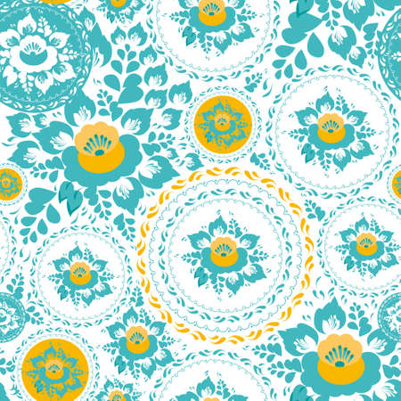 Vintage shabby Chic Seamless ornament pattern with turquoise and orange flowers and leaves. Vector