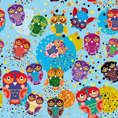 Seamless pattern with colorful owls on a blue background. Vector