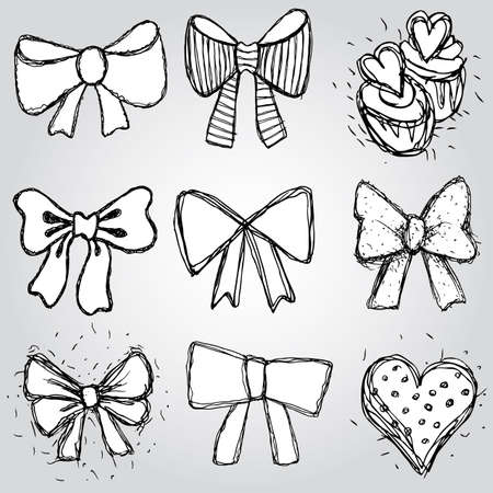 set of bows, hearts, cupcakes sketch contour pen black and white Vector