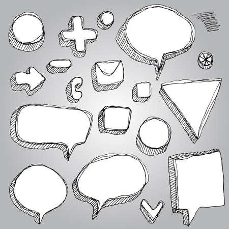 set of banners, arrows, symbols sketch contour pen black and white Vector