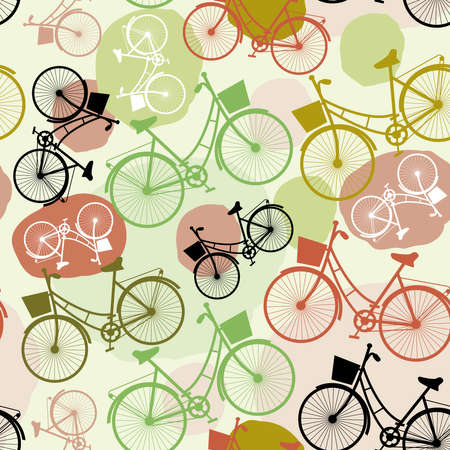 Vintage bicycles, seamless pattern, pastel colors green brown beige Vector