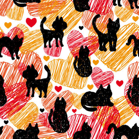 Seamless pattern Black silhouettes of cats on orange red background with hearts Vector