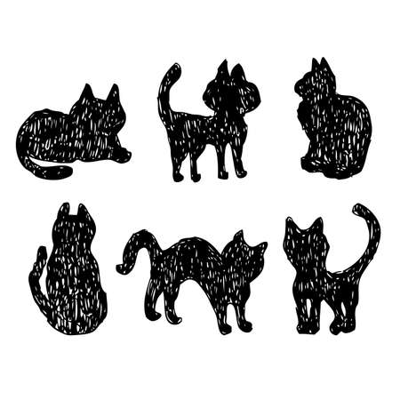 Cats collection vector silhouette black cats isolated Vector