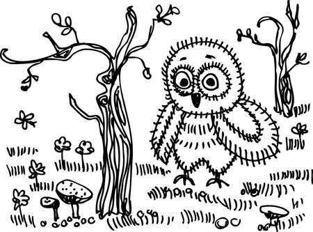 Owl, trees, grass, mushrooms Black contour on a white background Vector