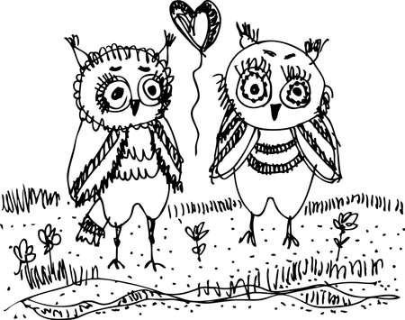 Owls, trees, grass Black contour on a white background. Vector