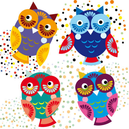Four bright colorful owls. set character, collection Vector