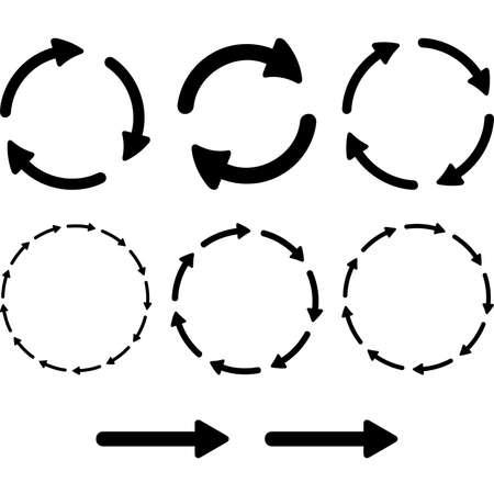 flecha derecha: Recarga de refresco signo bucle rotación Flecha pictograma configurado. Simple icono de la web de color sobre fondo blanco. Vectores