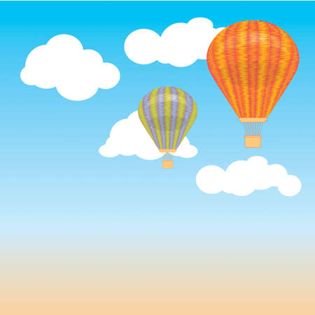 Hot air balloon and clouds in the sky. illustration. Background. postcard Vector