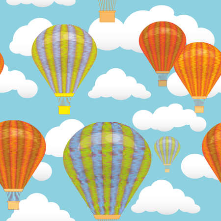 Seamless pattern. Hot air balloon and clouds in the sky Vector illustration. Background postcard Vector