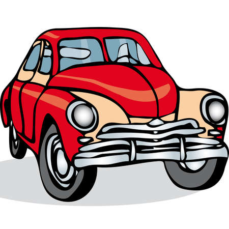 Russian Soviet vintage car on a white background.  イラスト・ベクター素材
