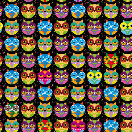Seamless pattern with bright colored owl on a black background. Vector illustration Vector