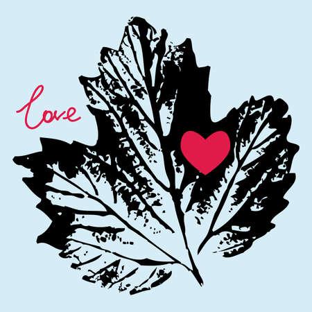 hintergrund liebe: druckt schwarze Blatt auf einem blauen Hintergrund, Liebe. Illustration