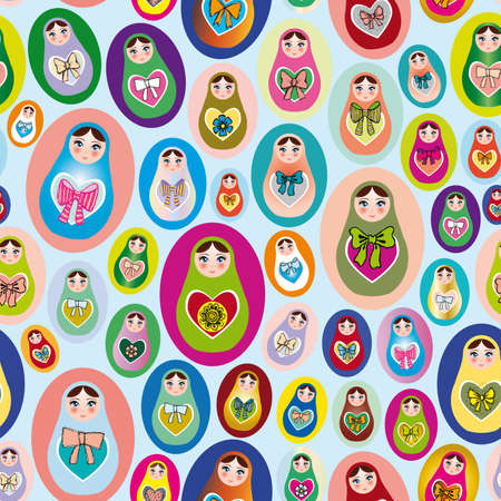 Seamless patten with Russian dolls on a blue background Vector