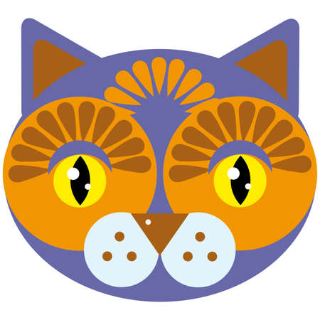 snoot: Cute cartoon muzzle cat on a white background.  Illustration