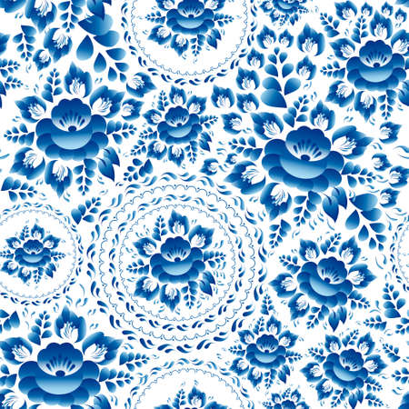 Vintage Seamless ornament pattern with blue flowers and leaves gzhel. Vector