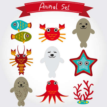 sea creatures: of cute sea animal set including fur seals, octopus, fish coral crab lobster
