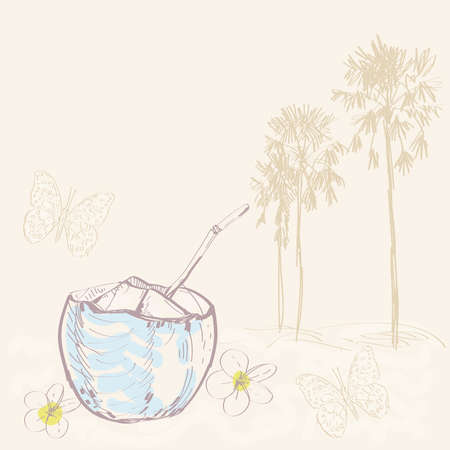 indonesia culture: Tropical landscape with palm trees and coconut. Sketch.