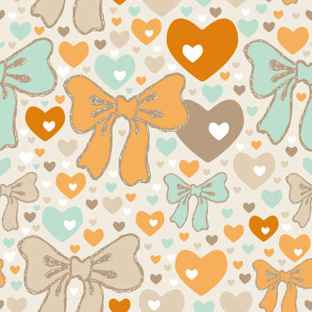 Seamless pattern with bows and hearts. drawing, elegant, sketchy Vector