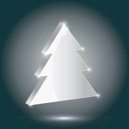 volume glow light: Silver fir 3 D on a gray background. New Year, Christmas.