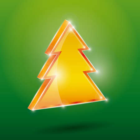 Golden fir 3 D on a green background. New Year, Christmas. Vector