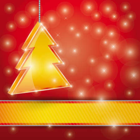 Celebration light vector background with ribbon and  Christmas tree. Vector illustration Vector