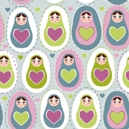 Seamless pattern Russian dolls on a blue, green, purple background. Vector illustration Vector