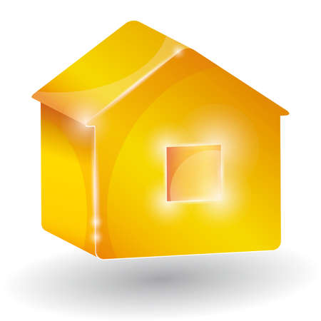 House three-dimensional on a white background. Picture of the home for business presentation. 3d Vector
