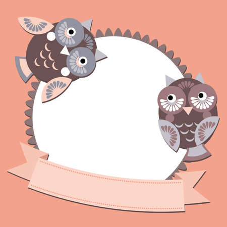 little sweet owl message banners, place for your text, graphic symbol. Vector