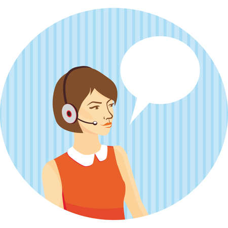 call centre girl: girl operator in headphones on blue background with stripes, speech bubble.