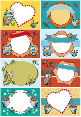 Set of greeting cards. Funny Owl Flowers Vintage ribbon labels  card template Vector