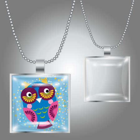 cabochon: Pendente in argento con cabochon in vetro trasparente quadrato per la vostra immagine. Vettore