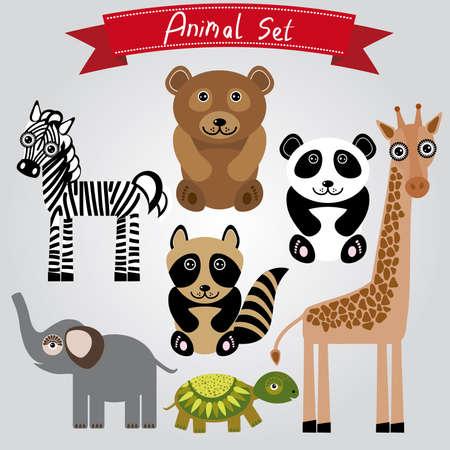 animal set zebra turtle giraffe elephant panda bear Vector