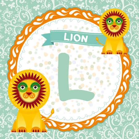 ABC animals L is lion. Childrens english alphabet. Vector