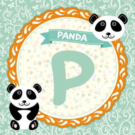 ABC animals P is panda. Childrens english alphabet.  Vector