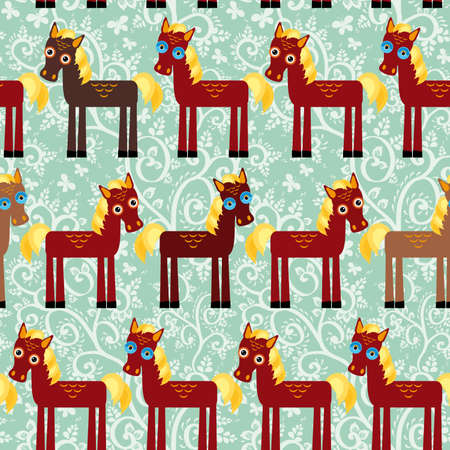 Brown horse on a blue floral background seamless pattern. vector illustration Vector