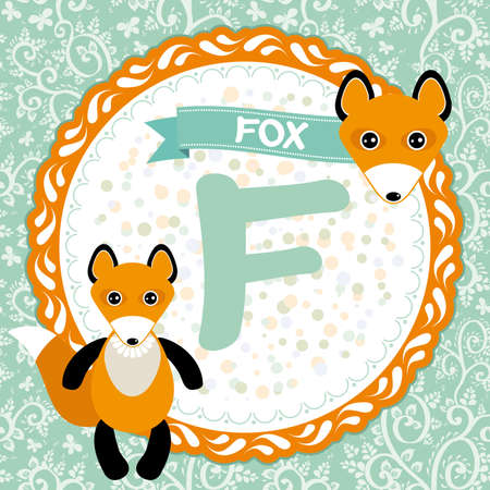 ABC animals F is fox. Childrens english alphabet. Vector illustration