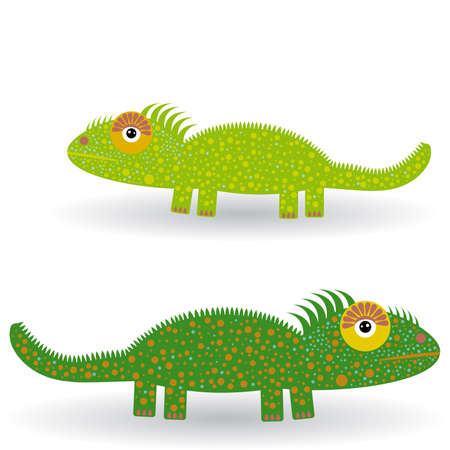 Funny green iguanas on a white background Vector