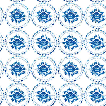 Vintage shabby Chic Seamless ornament pattern blue flowers leaves. Vector