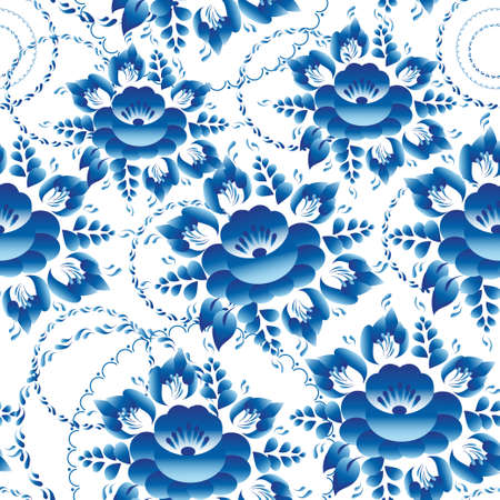 Seamless ornament pattern with blue flowers and leaves