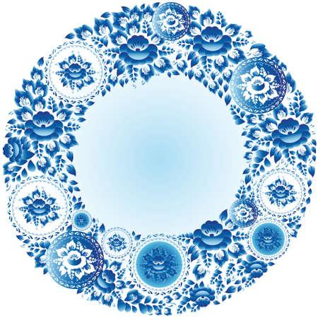 Round floral frame for your design vintage wedding Vector