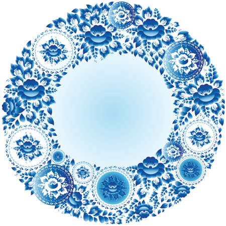 Round floral frame for your design vintage wedding Vector