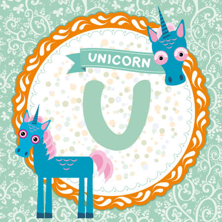 ABC animals U is unicorn, Children english alphabet Vector