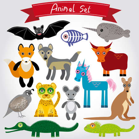 Set of funny cartoon animals on a white background Vector